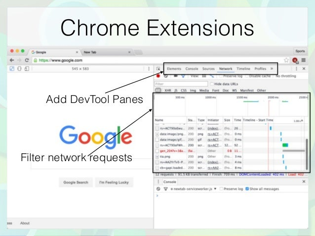 Chrome Extensions Filter network requests Add DevTool Panes
