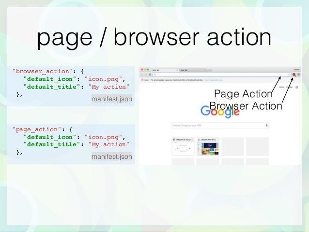 """page / browser action Browser Action Page Action """"browser_action"""": { """"default_icon"""": """"icon.png"""", """"default_title"""": """"My acti..."""