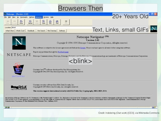 Browsers Then 20+ Years Old Text, Links, small GIFs Credit: Indolering (Own work) [CC0], via Wikimedia Commons <blink>