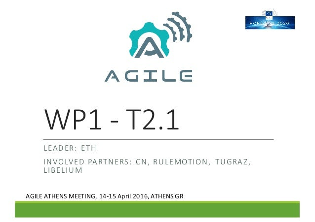 WP1	- T2.1 LEADER:	 ETH INVOLVED	PARTNERS:	 CN,	RULEMOTION,	 TUGRAZ,	 LIBELIUM AGILE	ATHENS	MEETING,	14-15	April	2016,	ATH...