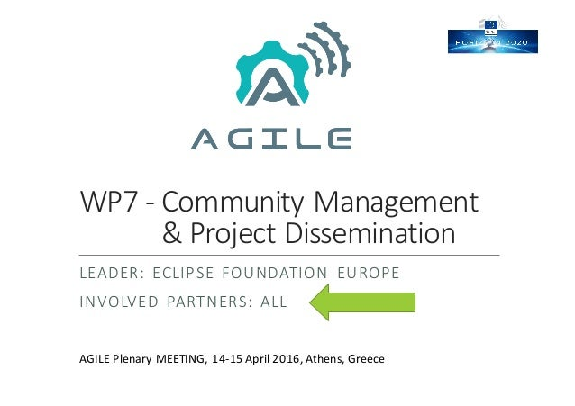 WP7	- Community	Management &	Project	Dissemination LEADER:	 ECLIPSE	 FOUNDATION	 EUROPE INVOLVED	 PARTNERS:	 ALL AGILE	Ple...