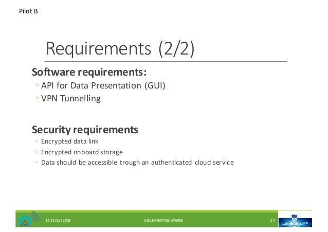 Requirements(2/2) Softwarerequirements: ◦ APIforDataPresentation(GUI) ◦ VPNTunnelling Securityrequirements ◦ Encry...