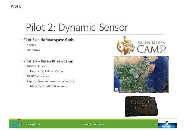 Pilot2:DynamicSensor ◦ Pilot2a– Hofmansgave Gods ◦ 7acres ◦ 50+Cows ◦ Pilot2b– KarenBlixenCamp ◦ 100+animals...