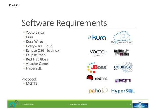 SoftwareRequirements ◦ Yocto Linux ◦ Kura ◦ KuraWires ◦ Everyware Cloud ◦ EclipseOSGi Equinox ◦ EclipsePaho ◦ RedHat...