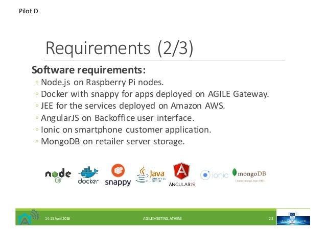 Requirements(2/3) Softwarerequirements: ◦ Node.jsonRaspberryPinodes. ◦ DockerwithsnappyforappsdeployedonAGILE...