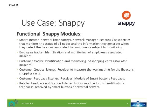 UseCase:Snappy FunctionalSnappyModules: ◦ SmartiBeaconnetwork(mandatory).NetworkmanageriBeacons /Raspberries...