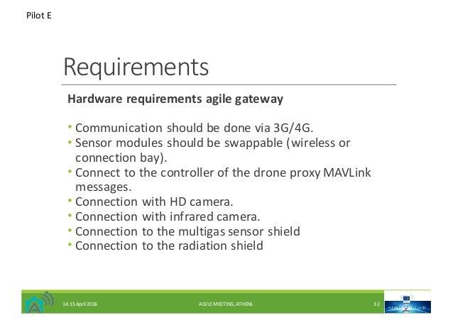 Requirements Hardwarerequirementsagilegateway • Communicationshouldbedonevia3G/4G. • Sensormodulesshouldbeswap...
