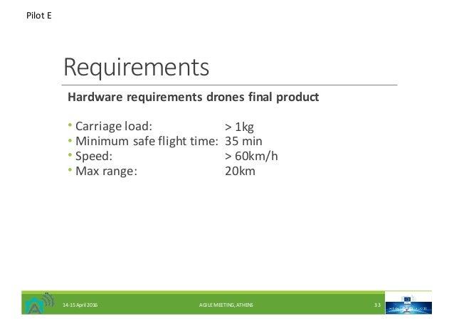 Requirements Hardwarerequirementsdronesfinalproduct • Carriageload: • Minimumsafeflighttime: • Speed: • Maxrange...