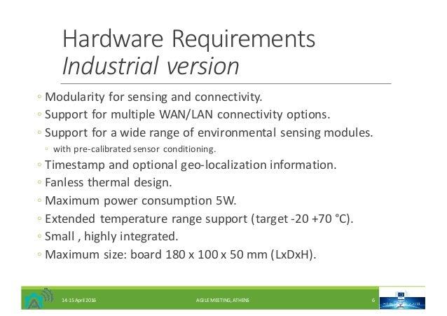 HardwareRequirements Industrialversion ◦ Modularityforsensingandconnectivity. ◦ SupportformultipleWAN/LANconnect...