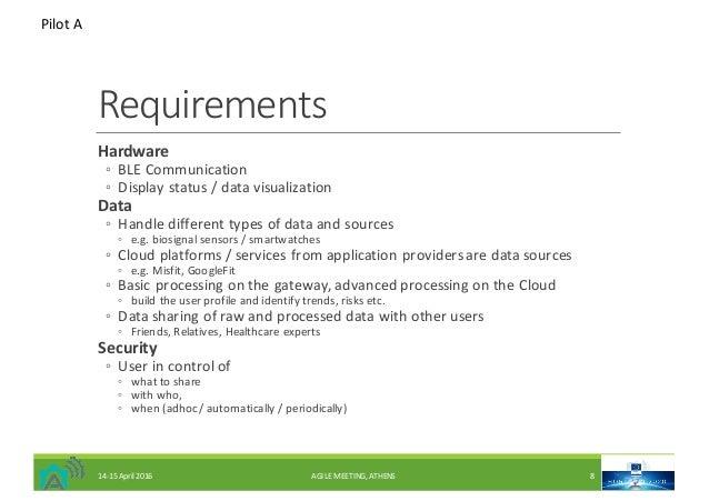 Requirements Hardware ◦ BLECommunication ◦ Displaystatus/datavisualization Data ◦ Handledifferenttypesofdataand...