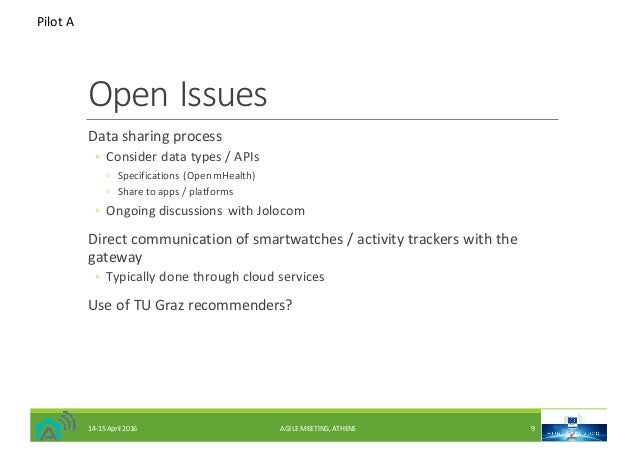 OpenIssues Datasharingprocess ◦ Considerdatatypes/APIs ◦ Specifications(OpenmHealth) ◦ Sharetoapps/platforms ...