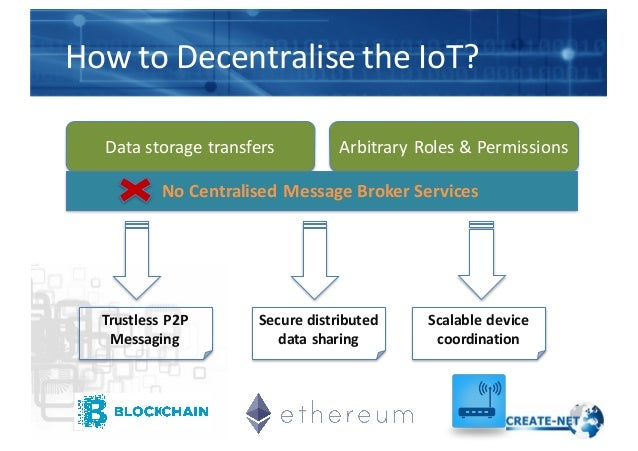 How  to  Decentralise  the  IoT? Data  storage  transfers Arbitrary  Roles  &  Permissions No  Central...