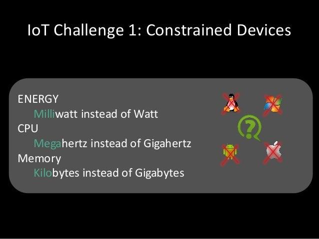 IoT Challenge1:ConstrainedDevices ENERGY Milliwatt insteadofWatt CPU MegahertzinsteadofGigahertz Memory Kilobytes...