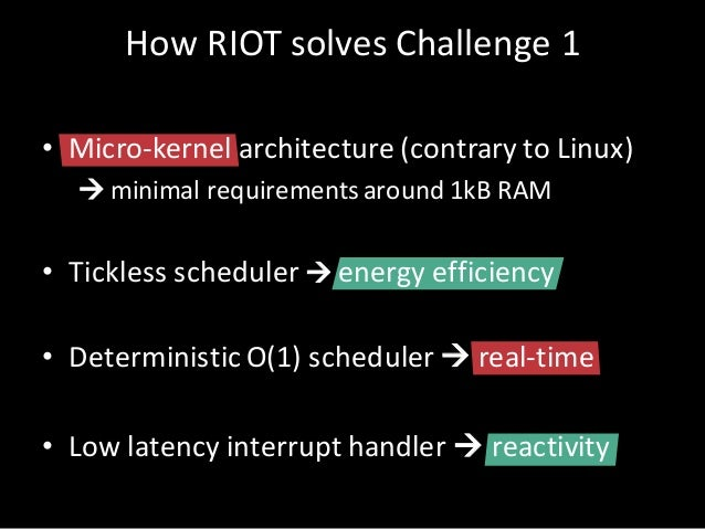HowRIOT solves Challenge1 • Micro-kernel architecture(contrary toLinux) à minimalrequirements around 1kBRAM • Tickle...