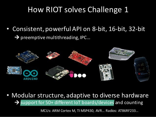 HowRIOTsolves Challenge1 • Consistent,powerful APIon8-bit,16-bit,32-bit à preemptive multithreading,IPC… • Modula...
