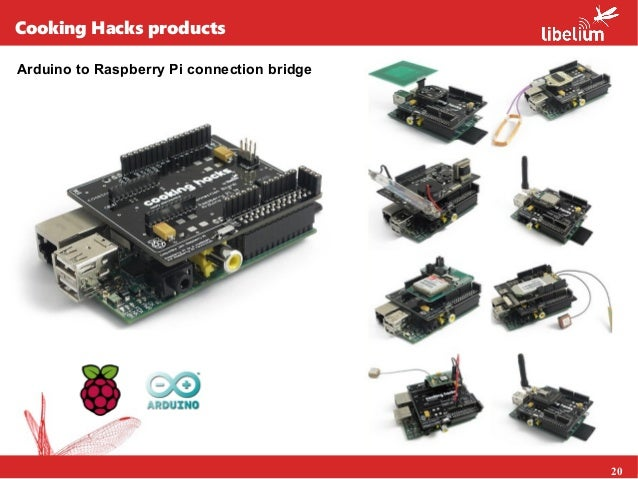 20 Cooking Hacks products Arduino to Raspberry Pi connection bridge