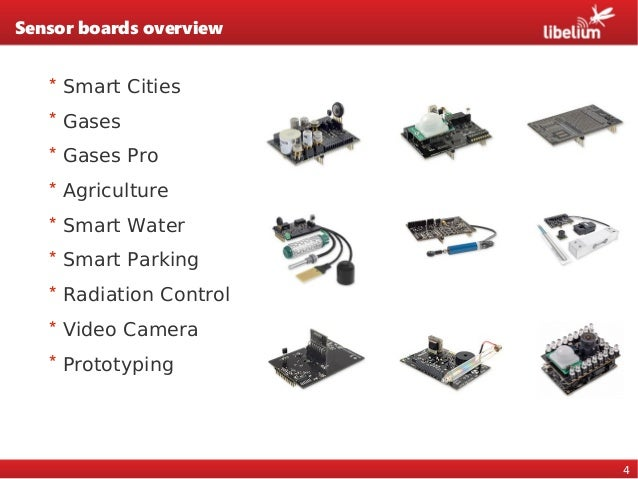 4 Sensor boards overview * Smart Cities * Gases * Gases Pro * Agriculture * Smart Water * Smart Parking * Radiation Contro...