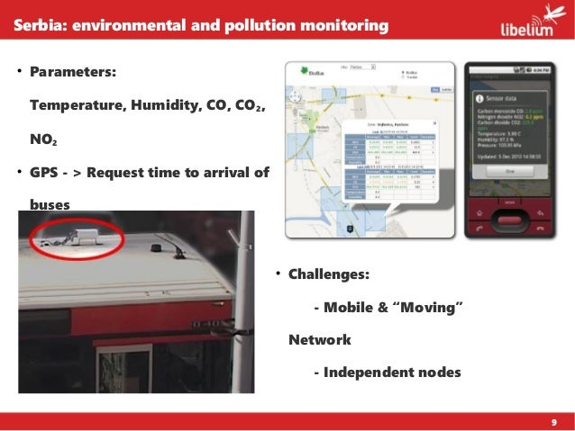 9 Serbia: environmental and pollution monitoring  Parameters: Temperature, Humidity, CO, CO2, NO2  GPS - > Request time ...