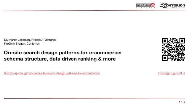 1 / 19 On-site search design patterns for e-commerce:
