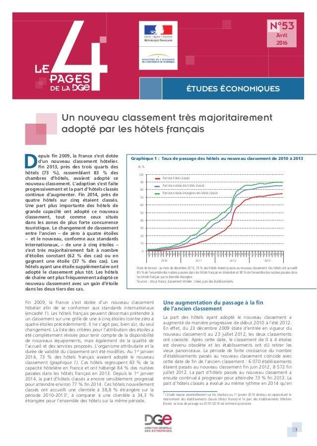 1 ÉTUDES ÉCONOMIQUES DIRECTION GÉNÉRALE DES ENTREPRISES DIRECTION GÉNÉRALE DES ENTREPRISES Un nouveau classement très majo...