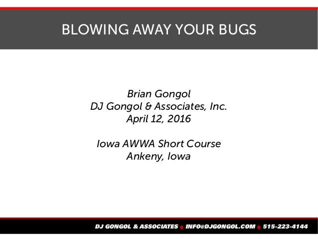 BLOWING AWAY YOUR BUGS Brian Gongol DJ Gongol & Associates, Inc. April 12, 2016 Iowa AWWA Short Course Ankeny, Iowa