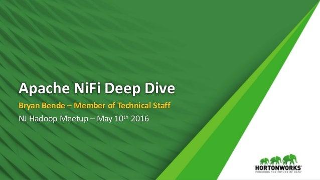 Apache NiFi Deep Dive Bryan Bende – Member of Technical Staff NJ Hadoop Meetup – May 10th 2016