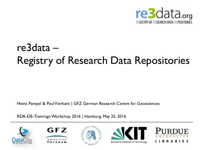 re3data – Registry of Research Data Repositories Heinz Pampel & PaulVierkant | GFZ German Research Centre for Geosciences ...