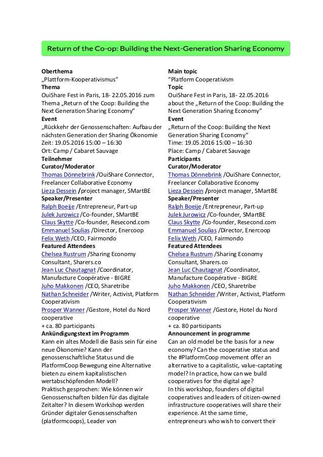 "Oberthema   Main  topic   ""Plattform-‐Kooperativismus""   ""Platform  Cooperativism   Thema   Topic  ..."