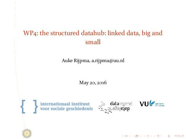 . . . . . . . . . . . . . . . . . . . . . . . . . . . . . . . . . . . . . . . . WP4: the structured datahub: linked data, ...