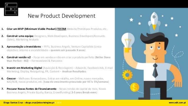 New Product Development 1. Criar um MVP (Minimum Viable Product) TESTAR Website/Protótipos Produtos, etc. 2. Construir uma...