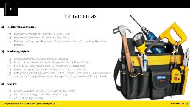 Ferramentas 1) Plataforma eCommerce: a) Plataforma Própria (Ex. Farfetch, El Corte Inglés) b) Loja em MarketPlace (Ex. Ama...