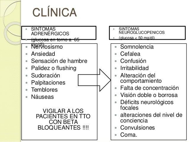 CLÍNICA  Nerviosismo  Ansiedad  Sensación de hambre  Palidez o flushing  Sudoración  Palpitaciones  Temblores  Náu...