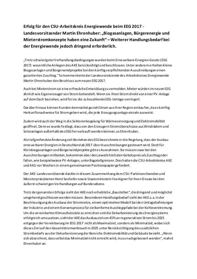 """Erfolg für den CSU-Arbeitskreis Energiewende beimEEG 2017 - Landesvorsitzender MartinEhrenhuber:""""Biogasanlagen, Bürgerener..."""