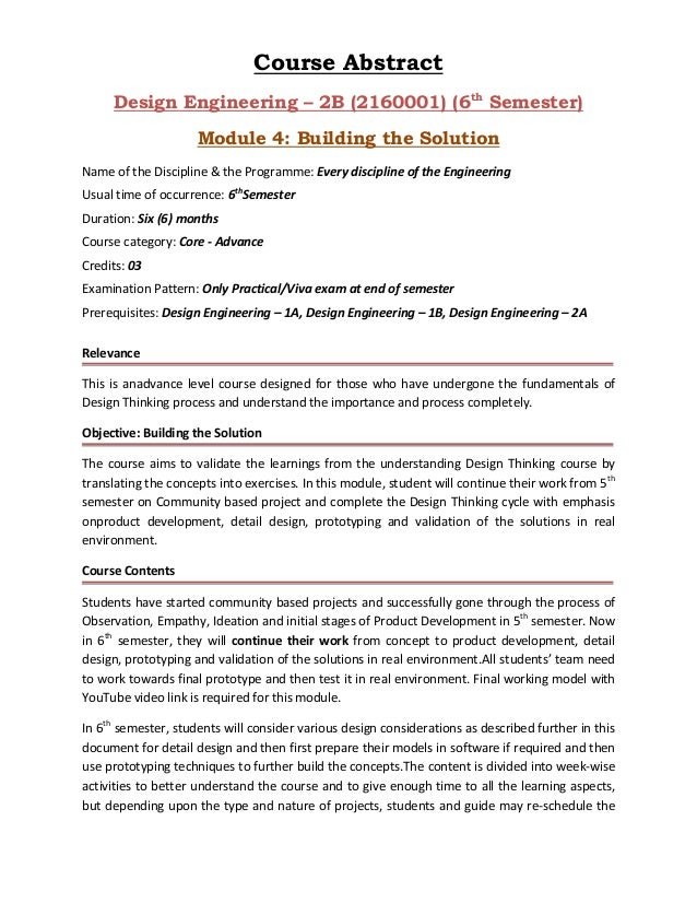 Course Abstract Design Engineering – 2B (2160001) (6th Semester) Module 4: Building the Solution Name of the Discipline & ...