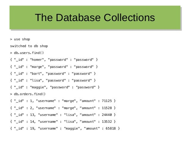 """The Database CollectionsThe Database Collections > use shop switched to db shop > db.users.find() { """"_id"""" : """"homer"""", """"pass..."""
