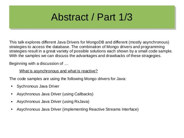 Reactive Access to MongoDB from Java 8 Slide 3
