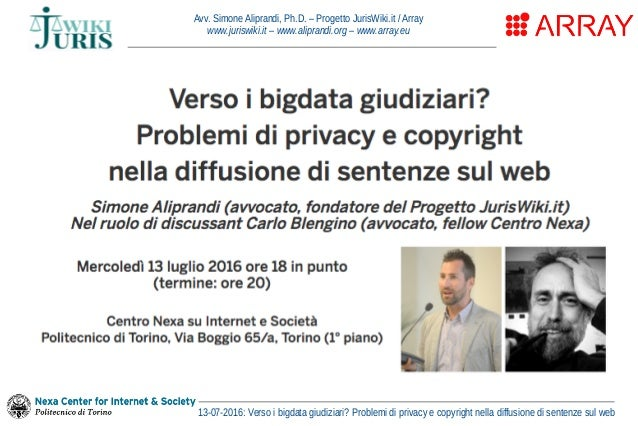 Avv. Simone Aliprandi, Ph.D. – Progetto JurisWiki.it / Array www.juriswiki.it – www.aliprandi.org – www.array.eu 13-07-201...