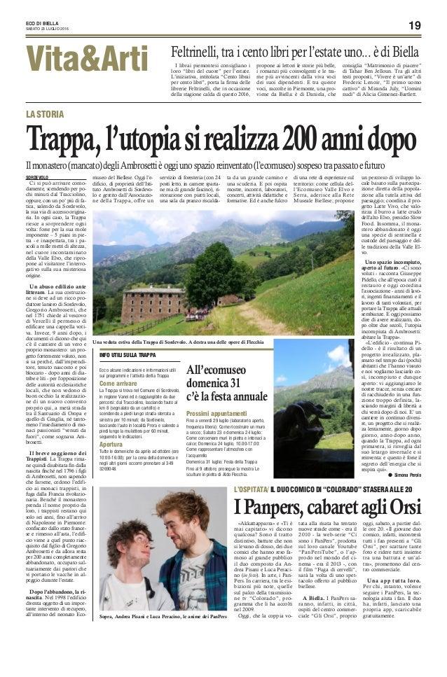 """19ECO DI BIELLA SABATO 23 LUGLIO 2016 Vita&Arti I librai piemontesi consigliano i loro """"libri del cuore"""" per l'estate. L'i..."""