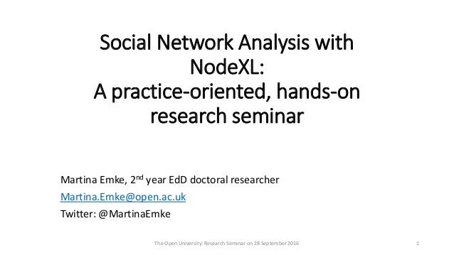 Social Network Analysis with NodeXL: A practice-oriented, hands-on research seminar Martina Emke, 2nd year EdD doctoral re...