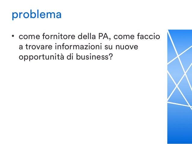 problema • come fornitore della PA, come faccio a trovare informazioni su nuove opportunità di business? – se posso permet...
