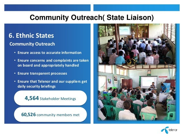 6. Ethnic States Community Outreach • Ensure access to accurate information • Ensure concerns and complaints are taken on ...
