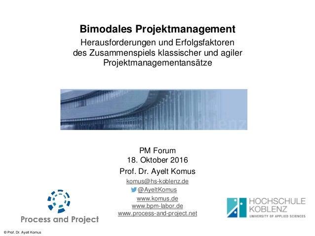 © Prof. Dr. Ayelt Komus Bimodales Projektmanagement Herausforderungen und Erfolgsfaktoren des Zusammenspiels klassischer u...