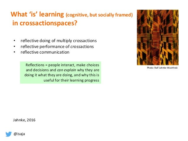 @isaja What 'is' learning (cognitive, but socially framed) in crossactionspaces? Photo: Ralf Jahnke-Wachholz Reflections =...