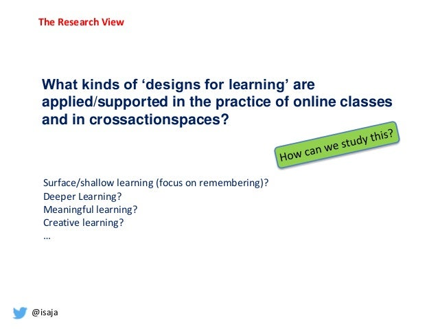 @isaja What kinds of 'designs for learning' are applied/supported in the practice of online classes and in crossactionspac...