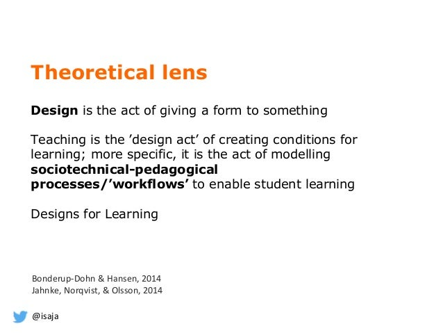@isaja Theoretical lens Design is the act of giving a form to something Teaching is the 'design act' of creating condition...