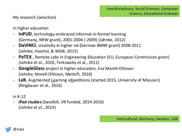@isaja My research (selection) in higher education - InPUD, technology-embraced informal-in-formal learning (Germany, NRW ...