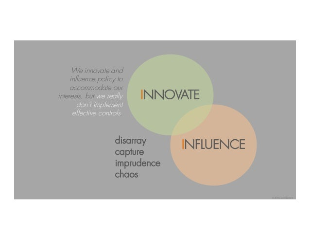 INNOVATE INFLUENCEdisarray capture imprudence chaos We innovate and influence policy to accommodate our interests, but we ...