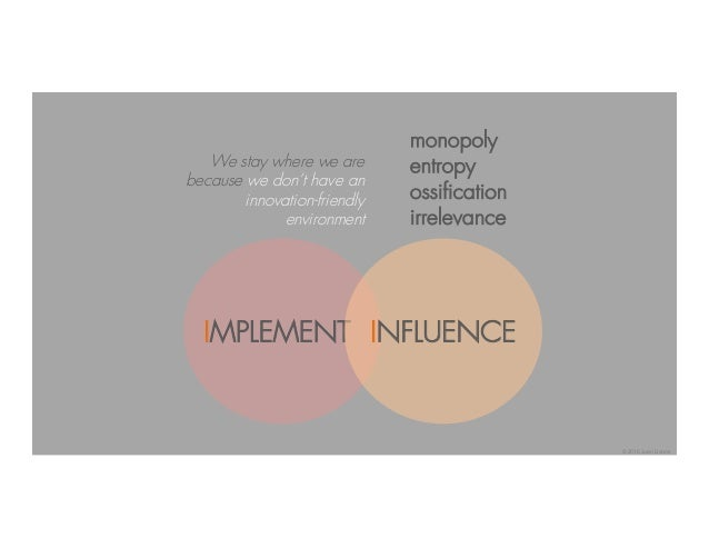 IMPLEMENT INFLUENCE monopoly entropy ossification irrelevance We stay where we are because we don't have an innovation-fri...