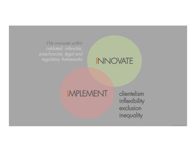 INNOVATE IMPLEMENT clientelism inflexibility exclusion inequality We innovate within outdated, inflexible, anachronistic l...