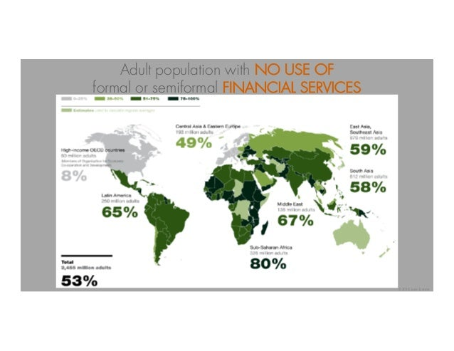 Adult population with NO USE OF formal or semiformal FINANCIAL SERVICES © 2016 Juan Llanos